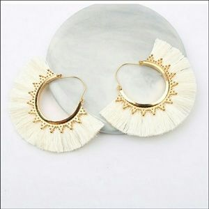 White Gold Vintage Boho Fringe Fan Drop Earrings